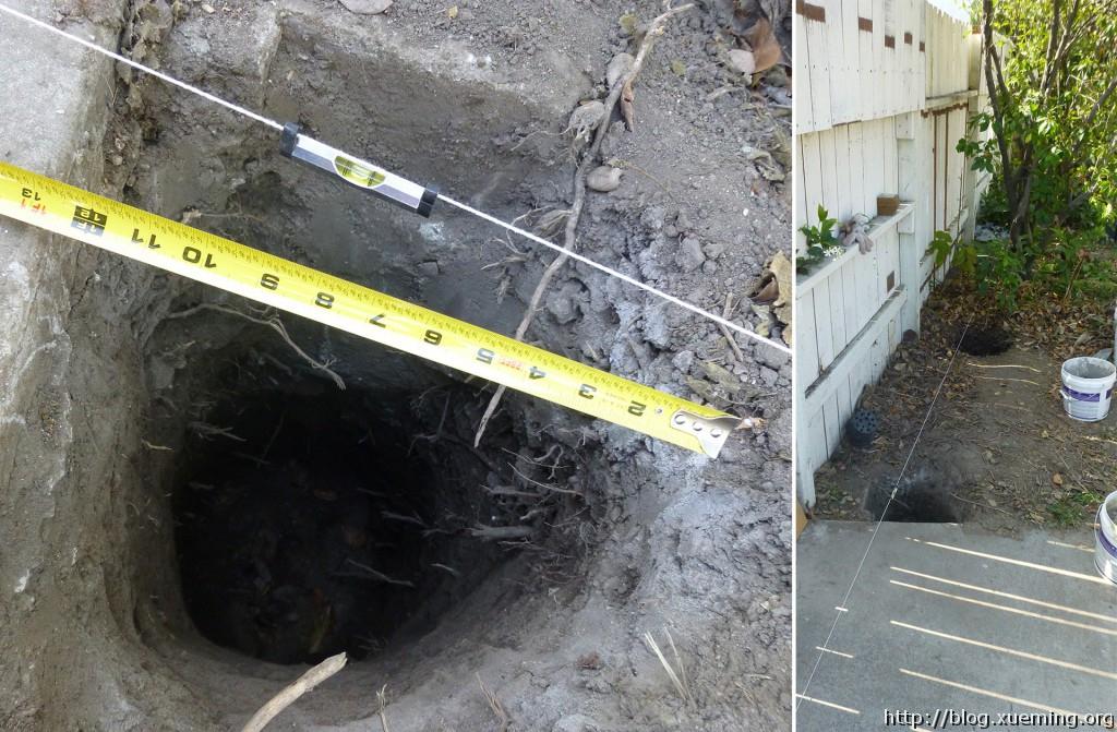 使用尼龙线和水平仪来确保洞的位置。
