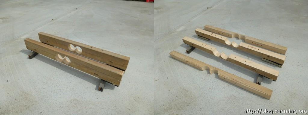 一对木夹子分别放在车顶前侧与后侧。管子将从中间穿过。