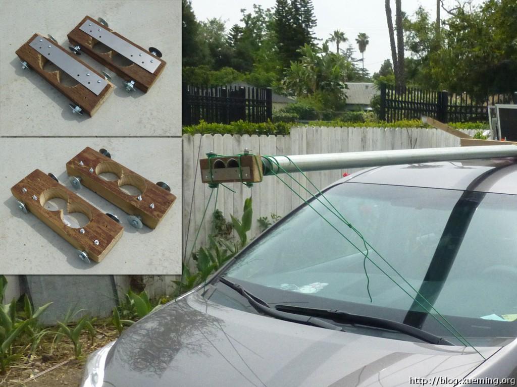另外一组木夹子,夹住长管子的两端,并绑在车身上。以限制材料前后方向的松动。